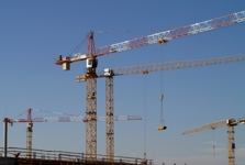 9 LIEBHERR TOWER CRANES AT THE BORY MALL PROJECT